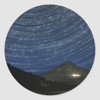 Star Trails Over Mount Hood at Trillium Lake OR Classic Round Sticker