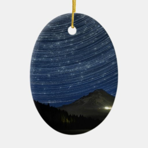 Star Trails Over Mount Hood at Trillium Lake OR Christmas Ornaments