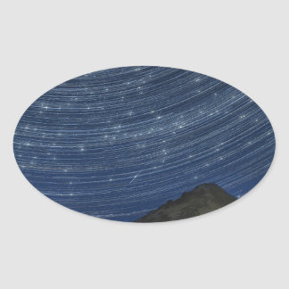 Star Trails Over Mount Hood at Trillium Lake OR Oval Sticker