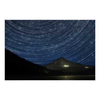 Star Trails Over Mount Hood at Trillium Lake Poste Poster