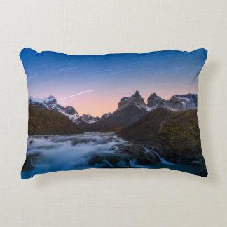 Star Trails Over Torres Del Paine Decorative Pillow