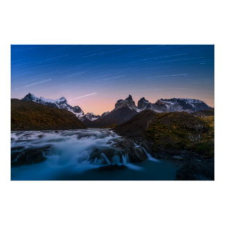 Star Trails Over Torres Del Paine Poster