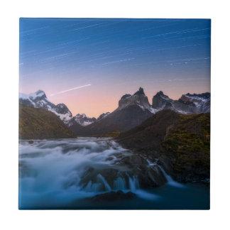 Star Trails Over Torres Del Paine Tile