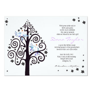 Star Tree Jewish Baby Naming Invitation Hebrew