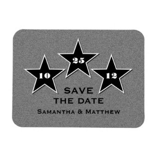 Star Trio Premium Save the Date Magnet, Black Rectangular Photo Magnet