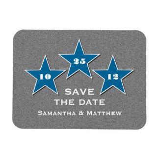 Star Trio Premium Save the Date Magnet, Blue Rectangular Photo Magnet