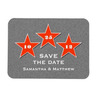 Star Trio Premium Save the Date Magnet, Orange Rectangular Photo Magnet