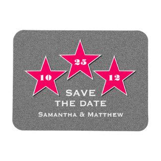 Star Trio Premium Save the Date Magnet, Pink Rectangular Photo Magnet