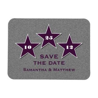 Star Trio Premium Save the Date Magnet, Purple Rectangular Photo Magnet