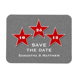 Star Trio Premium Save the Date Magnet, Red Rectangular Photo Magnet