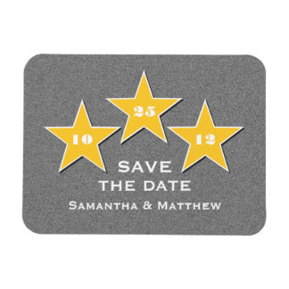 Star Trio Premium Save the Date Magnet, Yellow Rectangular Photo Magnet