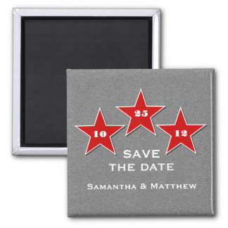 Star Trio Save the Date Magnet, Red 2 Inch Square Magnet