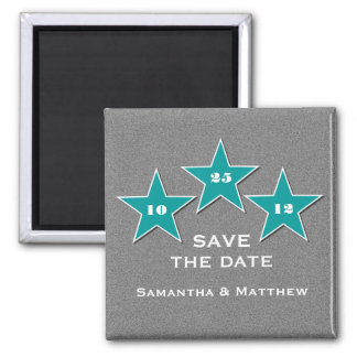 Star Trio Save the Date Magnet, Teal 2 Inch Square Magnet
