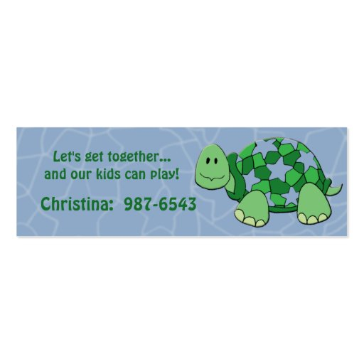 Star Turtle Playdate Card Double-Sided Mini Business Cards (Pack Of 20)
