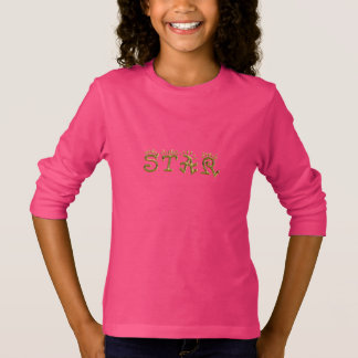 Star Typography Gold Text Hot Pink Shirt