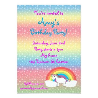 Star unicorn on rainbow birthday invitation