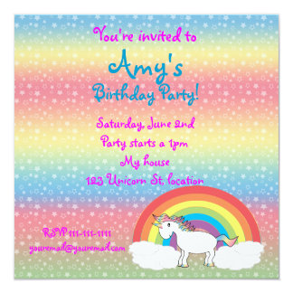 "Star unicorn on rainbow birthday invitation square 5.25"" square invitation card"