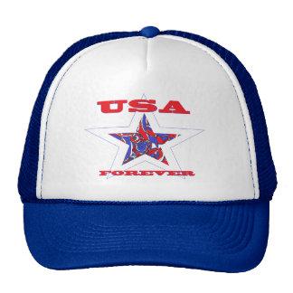 Star USA Forever ~Red White & Blue Patriotic Trucker Hat
