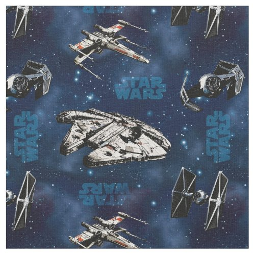 Star Wars  Blue Vehicle Classic Pattern Fabric