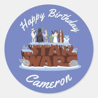 Star Wars Characters Birthday Cake Classic Round Sticker