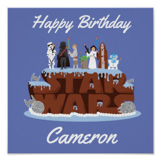 Star Wars Characters Birthday Cake Poster