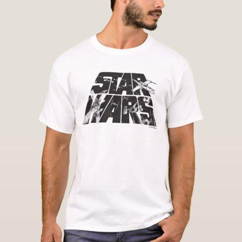 Star Wars Logo  X_Wing  TIE Fighter Battle T_Shirt