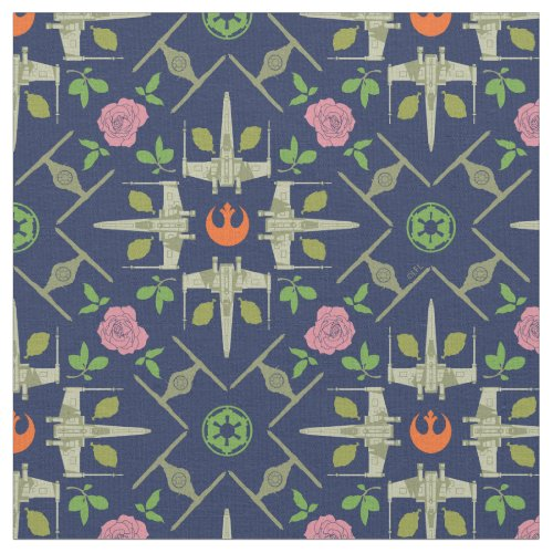 Star Wars Symbols  Vehicles Floral Pattern Fabric