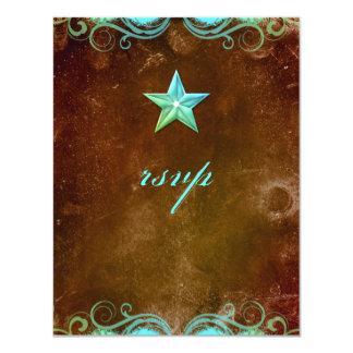 Star Wedding Reply Card Vintage Brown Blue