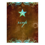 Star Wedding Reply Card Vintage Brown Blue Announcement