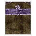 Star Wedding Reply Card Vintage Brown Purple Invitation