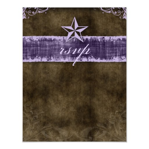 Star Wedding Reply Card Vintage Brown Purple Invitation