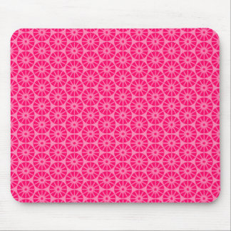 Star Wheel Pattern - Neon Red on Pink FF87B6 Mouse Pad