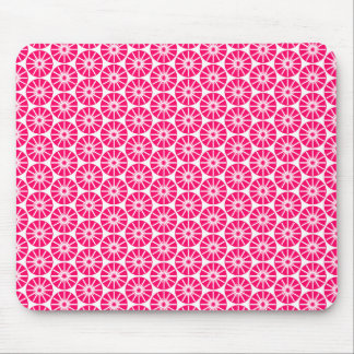 Star Wheel Pattern - Neon Red on White Mouse Pad