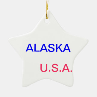 Star with alaska and juneau on it. ceramic ornament