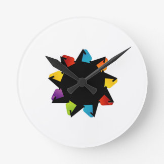 Star with colorful arrows round clock