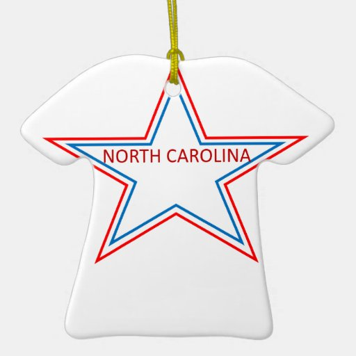 Star with North Carolina in it. Double-Sided T-Shirt Ceramic Christmas Ornament