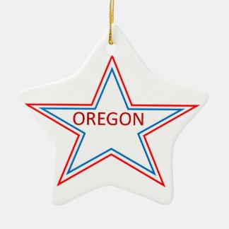 Star with Oregon in it. Ceramic Ornament