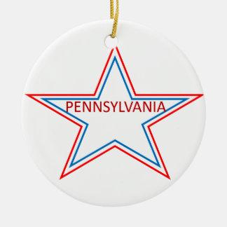 Star with pennsylvania in it. ceramic ornament