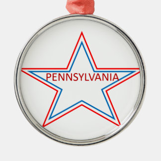 Star with pennsylvania in it. metal ornament