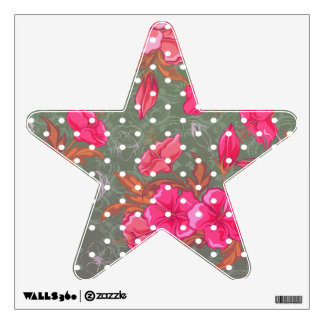 Star With Rounded Floral with Polka Dot Wall Decal