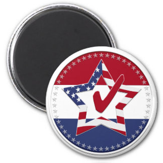 Star with US Flag, Red Check & 50 Stars - round 2 Inch Round Magnet