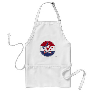 Star with US Flag, Red Check & 50 Stars - round Adult Apron