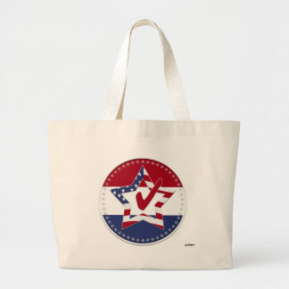 Star with US Flag, Red Check & 50 Stars - round Tote Bag