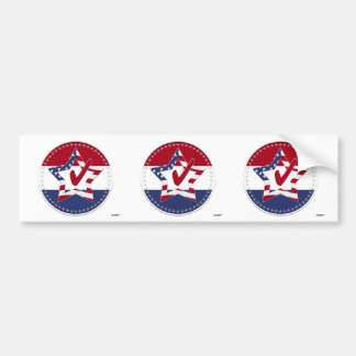 Star with US Flag, Red Check & 50 Stars - round Bumper Sticker
