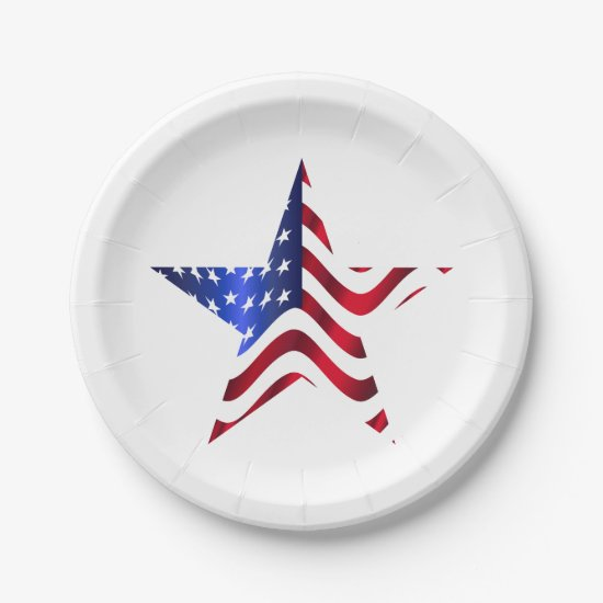 Star with USA Flag, 4th of July Paper Plates