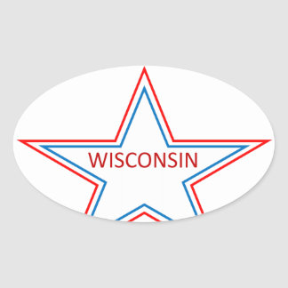 Star with Wisconsin in it. Oval Sticker