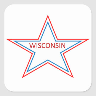 Star with Wisconsin in it. Square Sticker