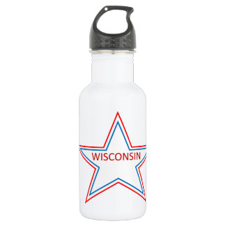 Star with Wisconsin in it. Stainless Steel Water Bottle