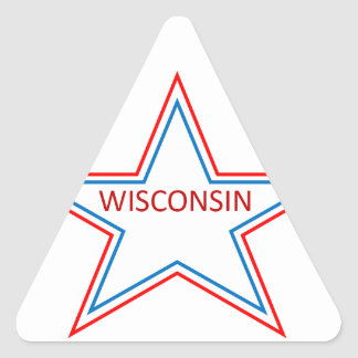 Star with Wisconsin in it. Triangle Sticker