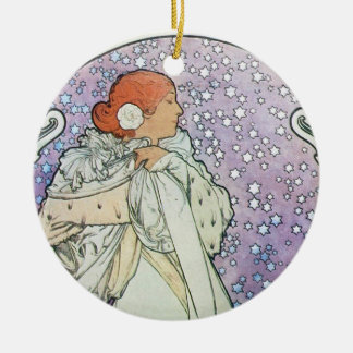 Star Woman Double-Sided Ceramic Round Christmas Ornament
